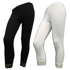 Ladies Brand New Bottom Lace 3/4 Cropped Viscose Women Legging in Assorted Color