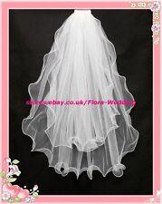2t Blanco Cintura longitud Wedding Bridal Suave veil/tulle, Pn