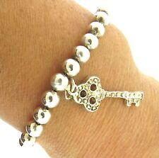 """Key Charm Silver Beaded Bracelet 1x7.5"""""""