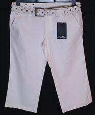 """BNWT Donna Oakley 3/4 O Pantaloni Capri Jeans Piccolo W28 """" Bianco + Cintura New"""