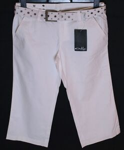 "Bnwt Women's Oakley 3/4 O Capri Pants Jeans Trousers Small W28"" White + Belt New"