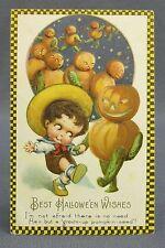 Antique Halloween Postcard Winsch Checkerboard Boy Dancing JOL Veggie Man Parade