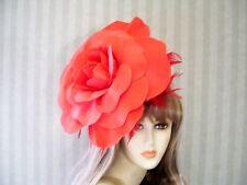 "RED Rose Fascinator, 12"" Wedding Hat, Garden Tea, Halloween, Kentucky Derby"