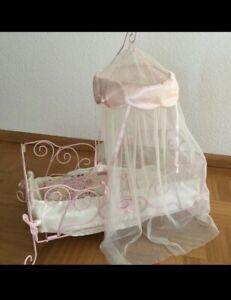 💕 Süßes rosa Puppenbett Baby Annabell Baby Born Bett für Puppe mit Himmel Zapf