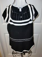 """""""WHITE HOUSE BLACK MARKET""""Black/White Trim Knitted Cap Sleeves Sweater size S."""