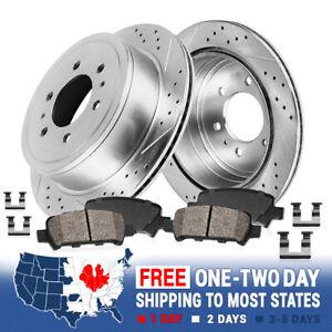Rear Drill Slot Brake Rotors & Ceramic Pads For 2015 2016 Chevy Colorado Canyon