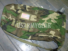 US Army Woodland Camo NBC Chem Chemical Suit Bag Back Pack Straps USGI Mopp Gear