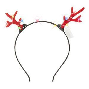 2 LED Antler Headband Christmas Glowing Light Up Flashing Band Xmas Party Lights
