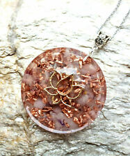 Colgante orgonita de flor de loto orgonita, cuarzo rosa, amatista, reiki, chakra