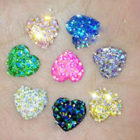20Pcs Multicolor Love Heart Resin Flatback Cabochon Crystal Crafts DIY 12mm