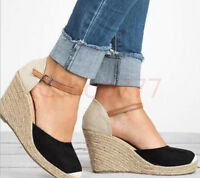 Womens Ankle Strap Platform Wedge Sweet Round Toe Sandals Espadrille Shoe 19 New