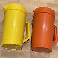 2 Vintage Tupperware Pitchers Push Button Top Orange Yellow
