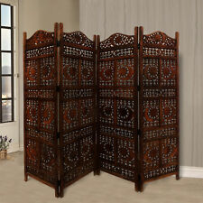 Hand Carved Sun And Moon Design Fold able 4-Panel Wooden Room Divider, Brown