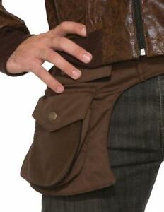 Brown Indiana Jones 1940's Explorer Adventurer Belted hip Pouch Two Pockets