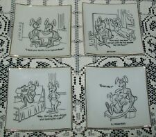 4 x SMALL VINTAGE 'HARERAISERS SERIES 1' DISHES risque rabbit cartoons, Japan