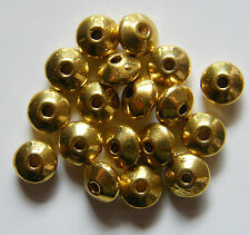 100pcs 3x6mm Metal Alloy 'UFO' Bicone Rondelle Spacers - Antique Gold