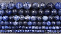 Natural Sodalite Jasper Gemstone Faceted Round Beads 4mm 6mm 8mm 10mm 12mm 15""