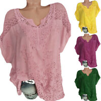 Women Ladie Batwing Short Sleeve Lace Hollow Baggy Casual T-Shirt Tops Blouse FS