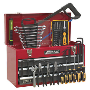 PORTABLE TOOL CHEST 3 DRAWER WITH BALL BEARING SLIDES - RED/GREY 93PC TOOL KIT