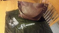 B. Makowsky Dark Burgundy double zipper front bag purse EUC SOFT LEATHER