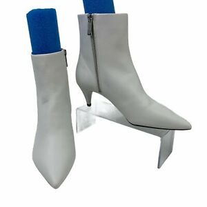 Michael Kors White Leather Booties Size 6.5 M Cone Heel Size Zip Ankle Boots