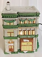 National Decorations London Grocer Lighted Christmas Village 1990 Porcelain