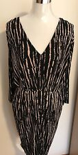 Size 22 Black & Beige Vertical Animal Striped Knee Length Dress Draped Waist