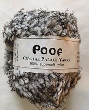 Crystal Palace Poof Yarn #204 White, Black Puff Eyelash 50gr 47yd Machine Wash!