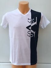 Versace 1969 Large Stripe Logo Navy and Grey V Neck T-shirt Sizes L XL XXL