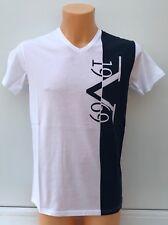 VERSACE 1969 Large Stripe Logo Navy And White V Neck T-Shirt  S M L XL BNWT