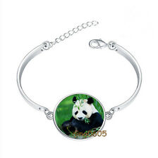 Panda Bear Bracelet Photo Glass Cabochon Tibet silver Bracelets