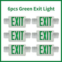 6pcs Universal Green Emergency Lighting Double Face Exit Sign Indoor Adjustable