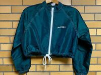 Vintage Surf Style Cropped Windbreaker Jacket Green Drawstring Size Small 80/90s