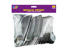 48pc METALLIC PLASTIC CUTLERY SET Assorted Disposable Silver Knives Spoons Forks