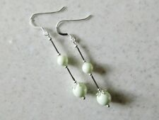Long Pastel Green Pearl Earrings With Swarovski Pearls & Sterling Silver Tubes