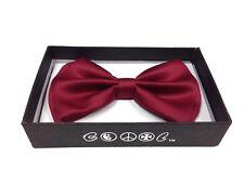 Burgundy Men Women Bowtie Classic Clip-On Neck-wear Tuxedo Adjustable