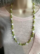 Long Necklace and Bracelet Set Handmade Olive Green and White Czech Glass Beads