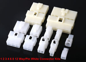 Quality 6.3mm White Mini Connector Kits 1-12 Way/Pin Motorbike Motorcycle Cars