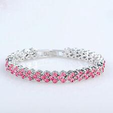 "Fashion Roman Pink Cubic Zirconia White Gold Plated Bangle Bracelet 7"" Chain Box"