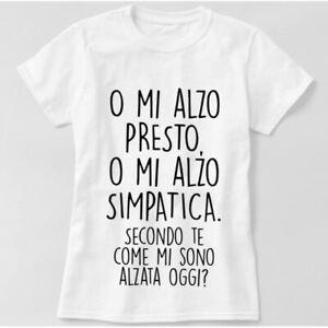 Candyshop T-shirt Maglietta donna scritta divertente Mi alzo presto o simpatica
