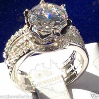 3pc Bridal Set: 4ct Simulated Diamond Real 925 Sterling Silver Engagement Ring