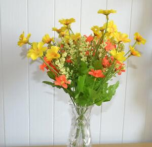 2x Blumenstrauß künstliche Blumen Kunstblumen gelb orange Dekoblumenstrauß