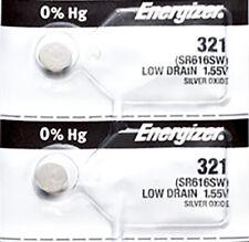 2 x Energizer 321 Watch Batteries, 0% MERCURY equivilate SR616SW