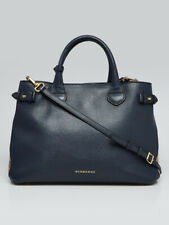 Burberry Navy Blue Pebble Leather House Check Medium Banner Tote Bag