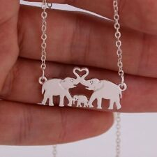 ZARD Elephant Family Love Mom Dad and Baby Pendant Necklace Sterling Silver