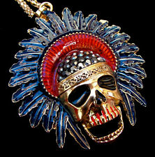 SKULL Head Chief BIG Rhinestone Halloween Costume Cross NAVY BLUE Retro Necklace