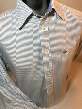 MEN'S Tommy Hilfiger Button Down Dress Shirt Striped Blue Sz L w/ Blue cuffs