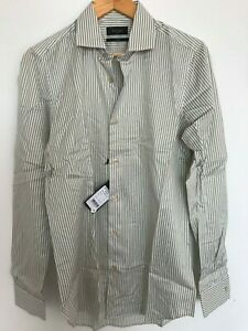 """Paul Smith Gents Formal Tailored Shirt in Green Stripe Sizes 15"""" -17"""" - RRP £150"""