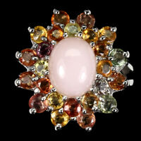 Oval Pink Opal 10x8mm Sapphire 14K White Gold Plate 925 Sterling Silver Ring