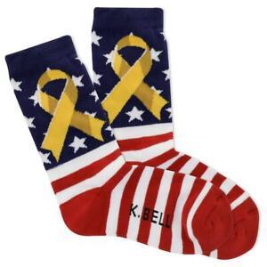 Yellow Ribbon K Bell Women's Crew Socks Red New Novelty USA Patriotic Fashion